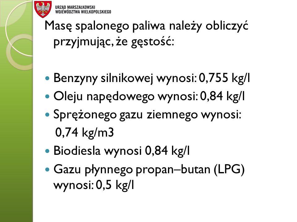 Masę spalonego paliwa należy obliczyć przyjmując, że gęstość: