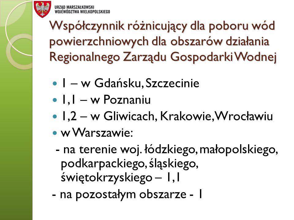 1,2 – w Gliwicach, Krakowie, Wrocławiu w Warszawie: