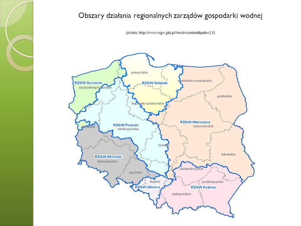 Obszary działania regionalnych zarządów gospodarki wodnej (źródło: http://www.rzgw.gda.pl/ mod=content&path+2,5)