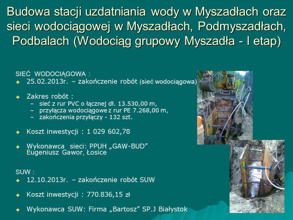 Budowa stacji uzdatniania wody w Myszadłach oraz sieci wodociągowej w Myszadłach, Podmyszadłach, Podbalach (Wodociąg grupowy Myszadła - I etap)