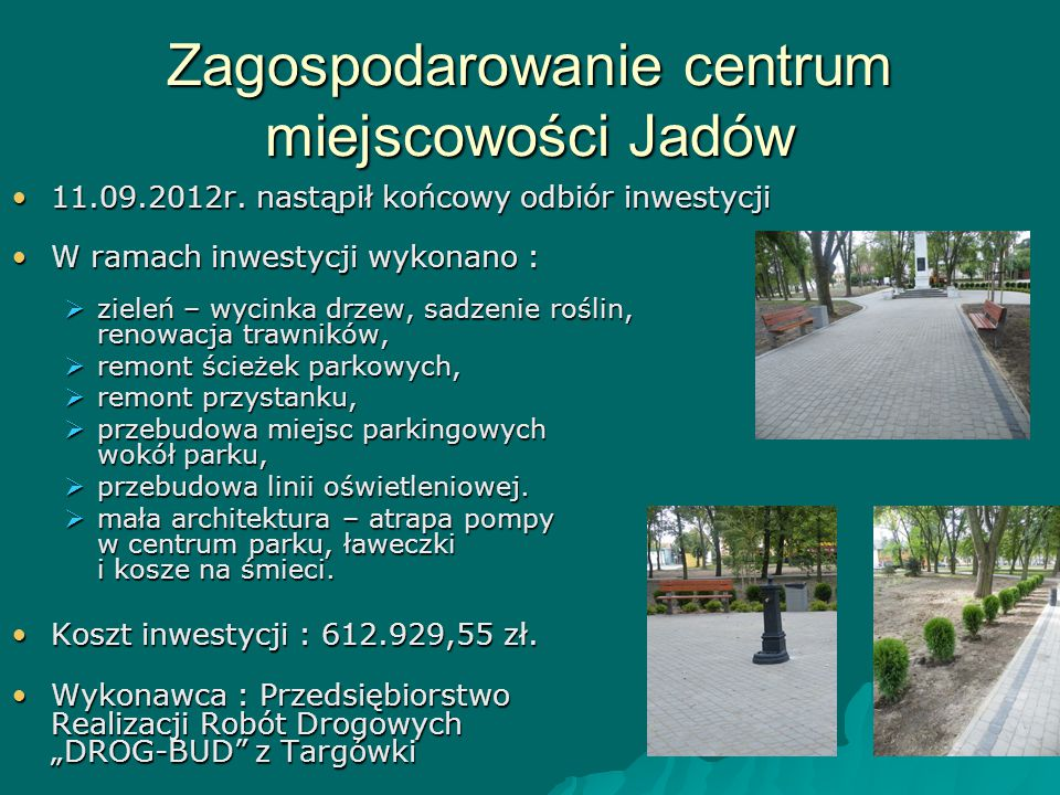 Zagospodarowanie centrum miejscowości Jadów