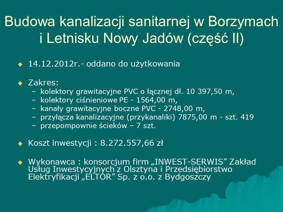 Budowa kanalizacji sanitarnej w Borzymach i Letnisku Nowy Jadów (część II)