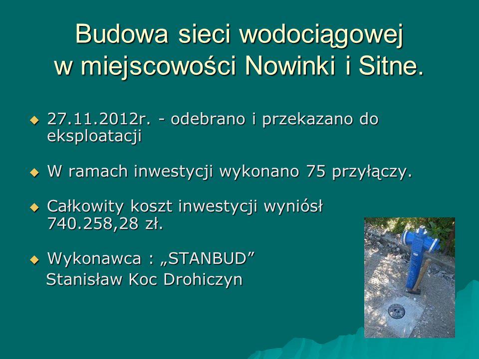 Budowa sieci wodociągowej w miejscowości Nowinki i Sitne.