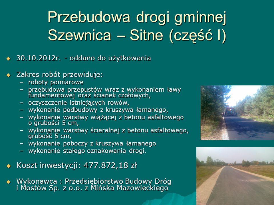 Przebudowa drogi gminnej Szewnica – Sitne (część I)