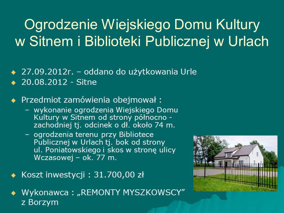 Ogrodzenie Wiejskiego Domu Kultury w Sitnem i Biblioteki Publicznej w Urlach