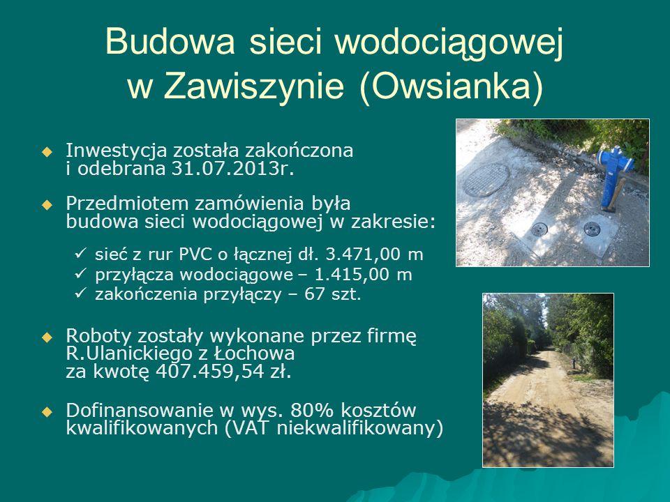 Budowa sieci wodociągowej w Zawiszynie (Owsianka)