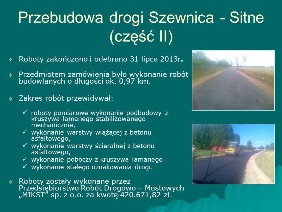 Przebudowa drogi Szewnica - Sitne (część II)