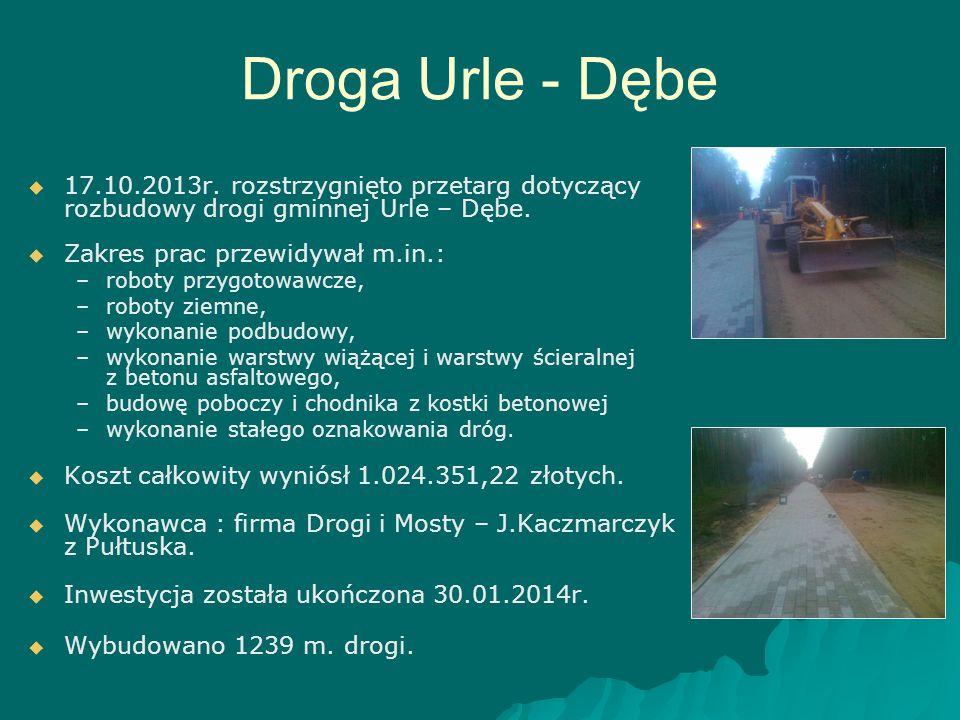 Droga Urle - Dębe 17.10.2013r. rozstrzygnięto przetarg dotyczący rozbudowy drogi gminnej Urle – Dębe.