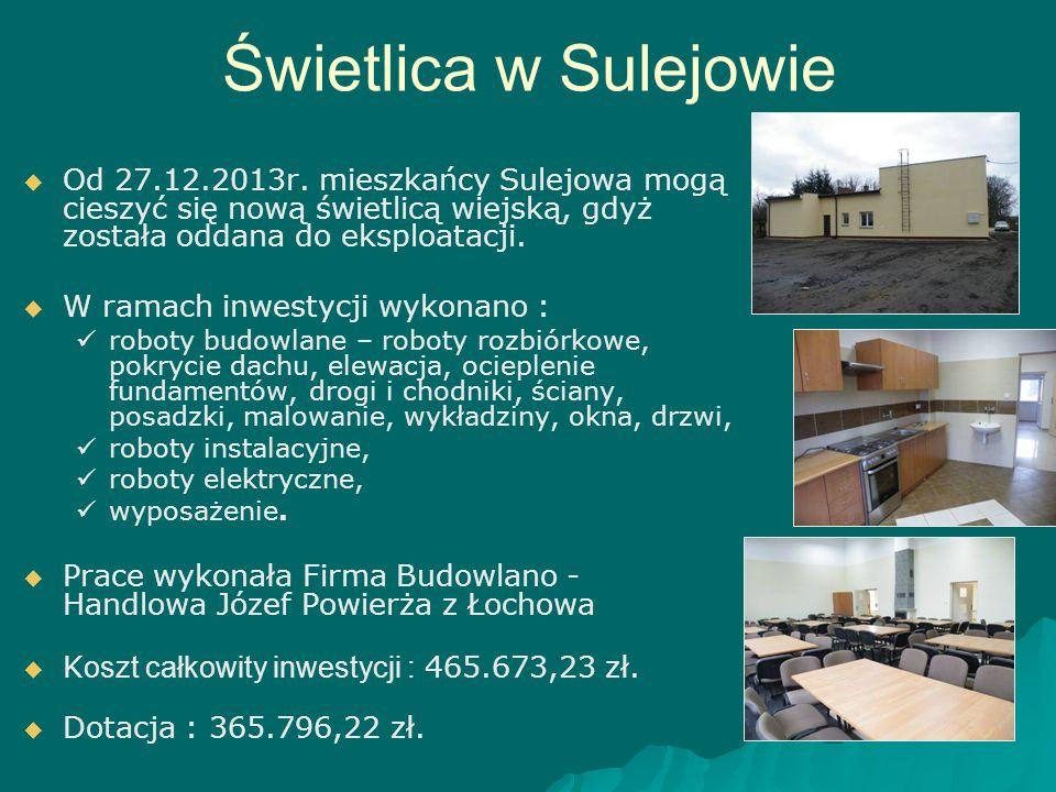 Świetlica w Sulejowie Od 27.12.2013r. mieszkańcy Sulejowa mogą cieszyć się nową świetlicą wiejską, gdyż została oddana do eksploatacji.