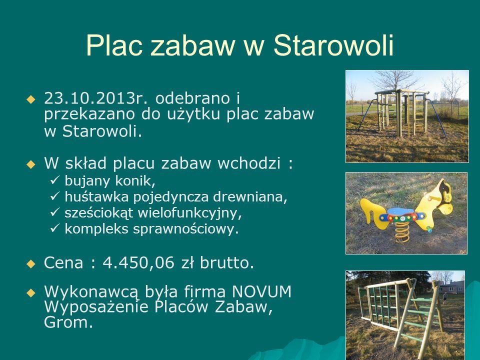 Plac zabaw w Starowoli 23.10.2013r. odebrano i przekazano do użytku plac zabaw w Starowoli. W skład placu zabaw wchodzi :
