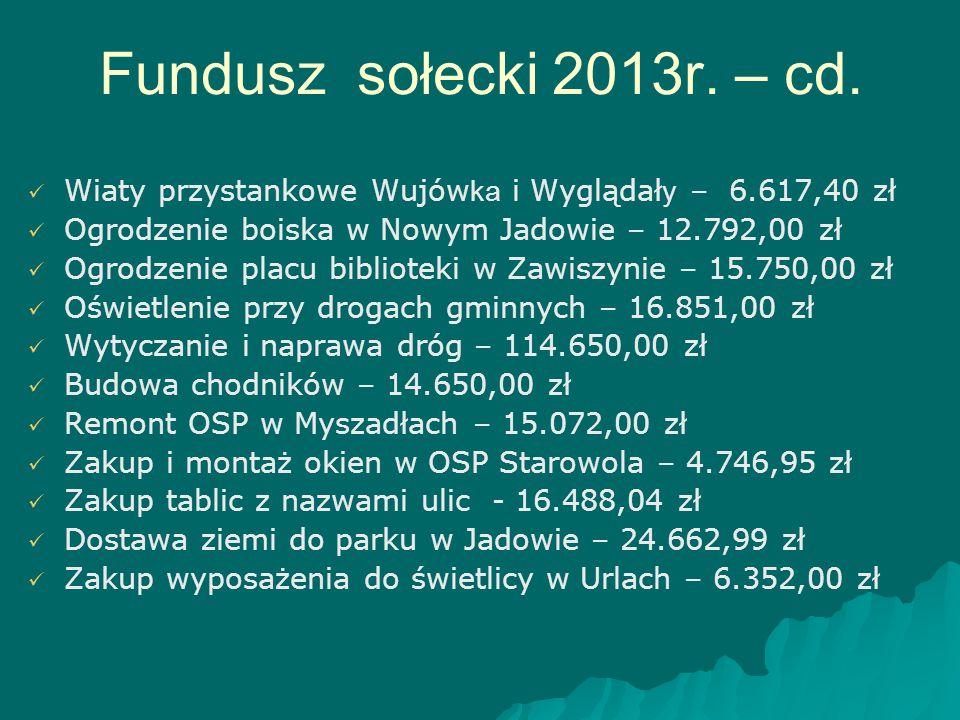 Fundusz sołecki 2013r. – cd. Wiaty przystankowe Wujówka i Wyglądały – 6.617,40 zł. Ogrodzenie boiska w Nowym Jadowie – 12.792,00 zł.