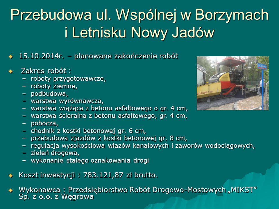 Przebudowa ul. Wspólnej w Borzymach i Letnisku Nowy Jadów