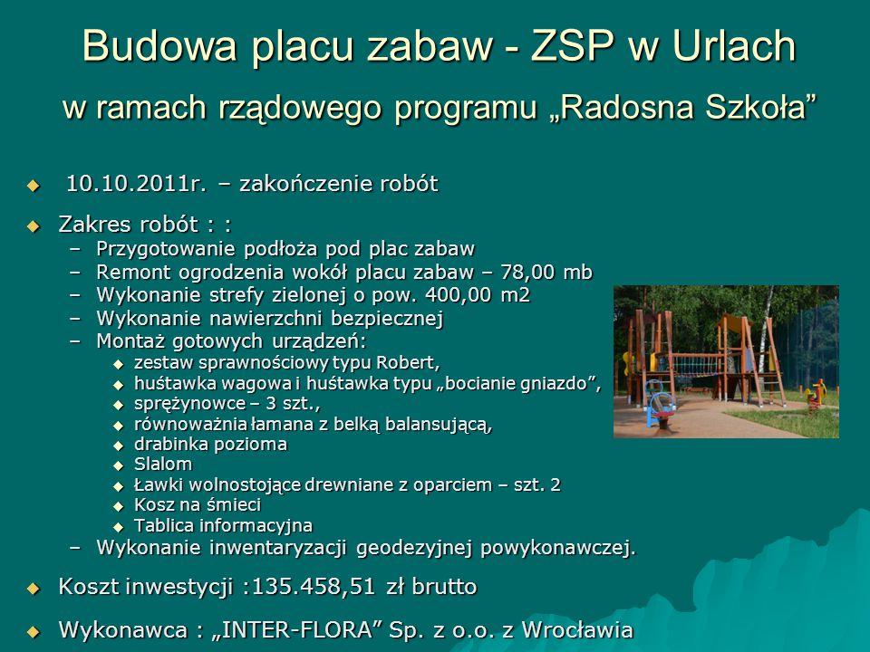 """Budowa placu zabaw - ZSP w Urlach w ramach rządowego programu """"Radosna Szkoła"""