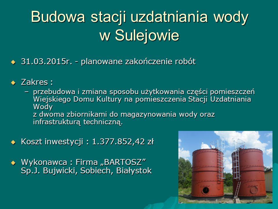 Budowa stacji uzdatniania wody w Sulejowie