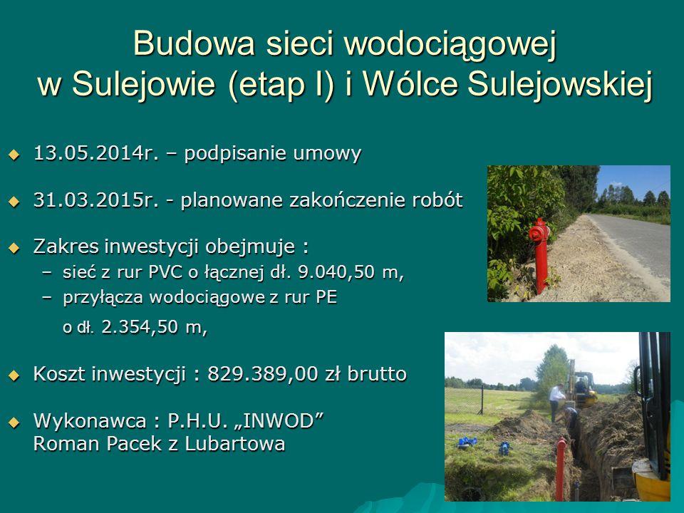 Budowa sieci wodociągowej w Sulejowie (etap I) i Wólce Sulejowskiej