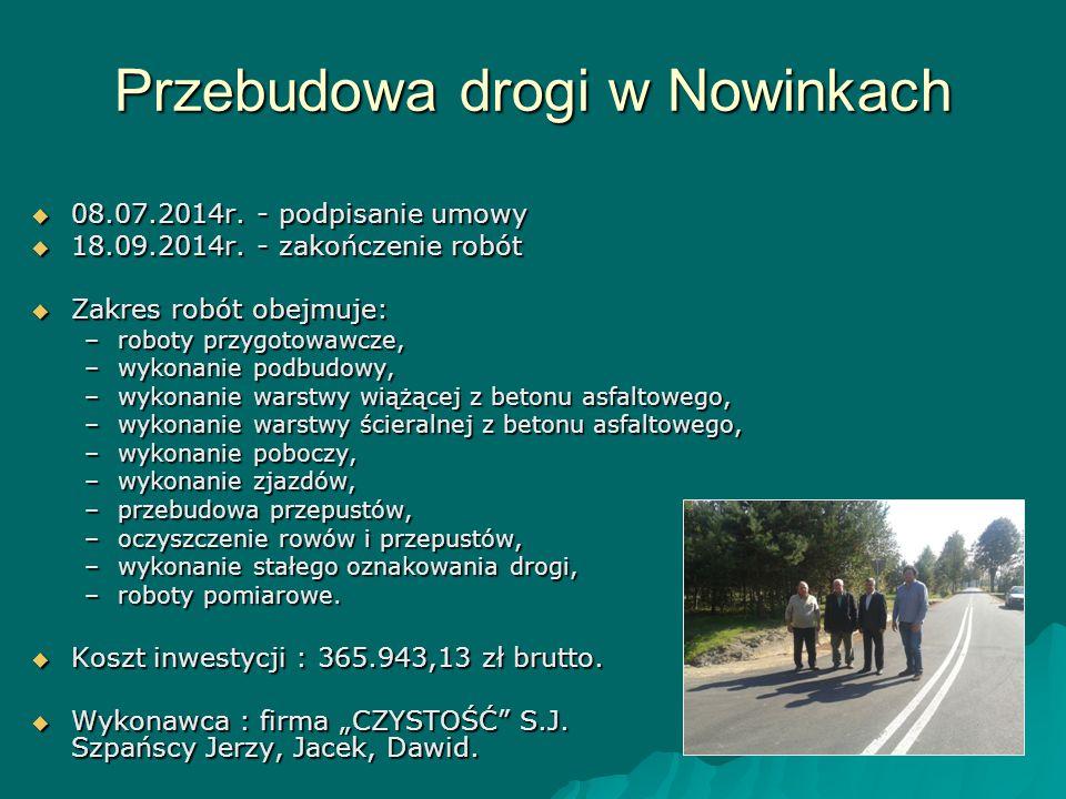 Przebudowa drogi w Nowinkach