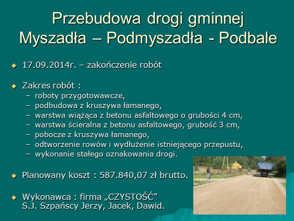Przebudowa drogi gminnej Myszadła – Podmyszadła - Podbale