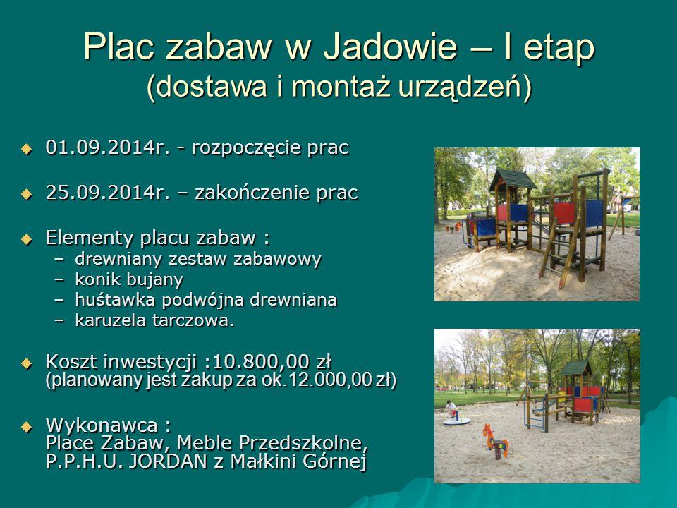 Plac zabaw w Jadowie – I etap (dostawa i montaż urządzeń)