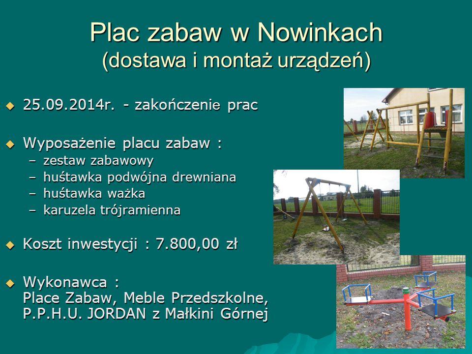 Plac zabaw w Nowinkach (dostawa i montaż urządzeń)