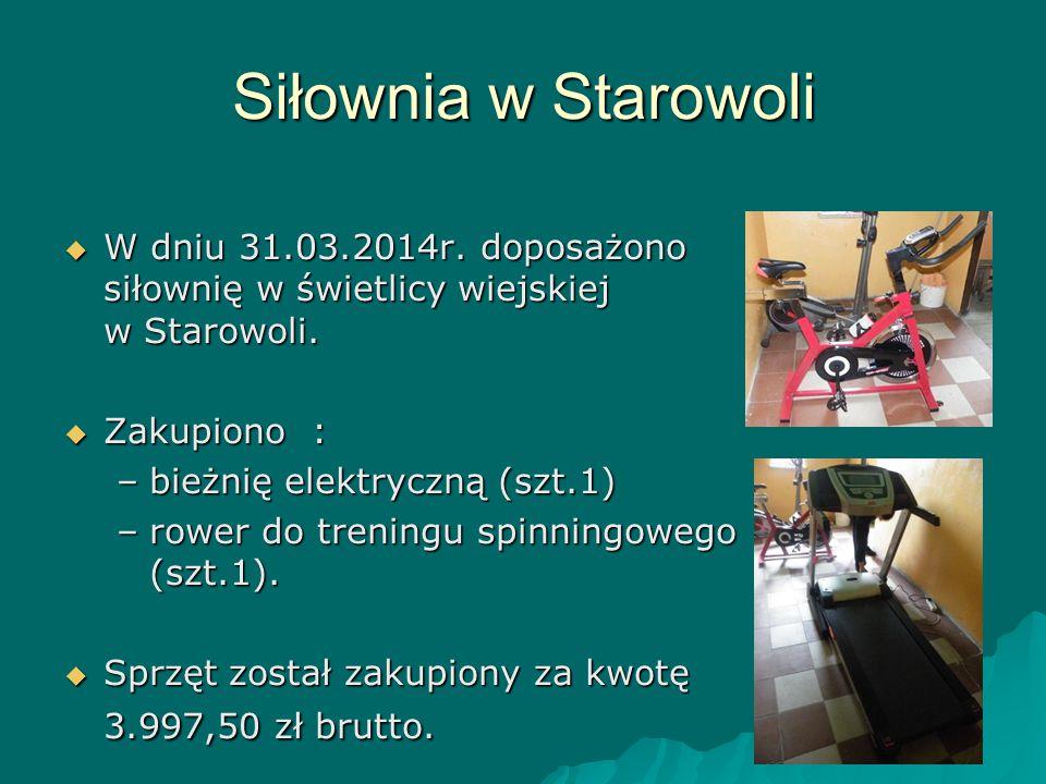 Siłownia w Starowoli W dniu 31.03.2014r. doposażono siłownię w świetlicy wiejskiej w Starowoli. Zakupiono :