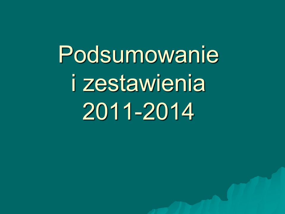 Podsumowanie i zestawienia 2011-2014