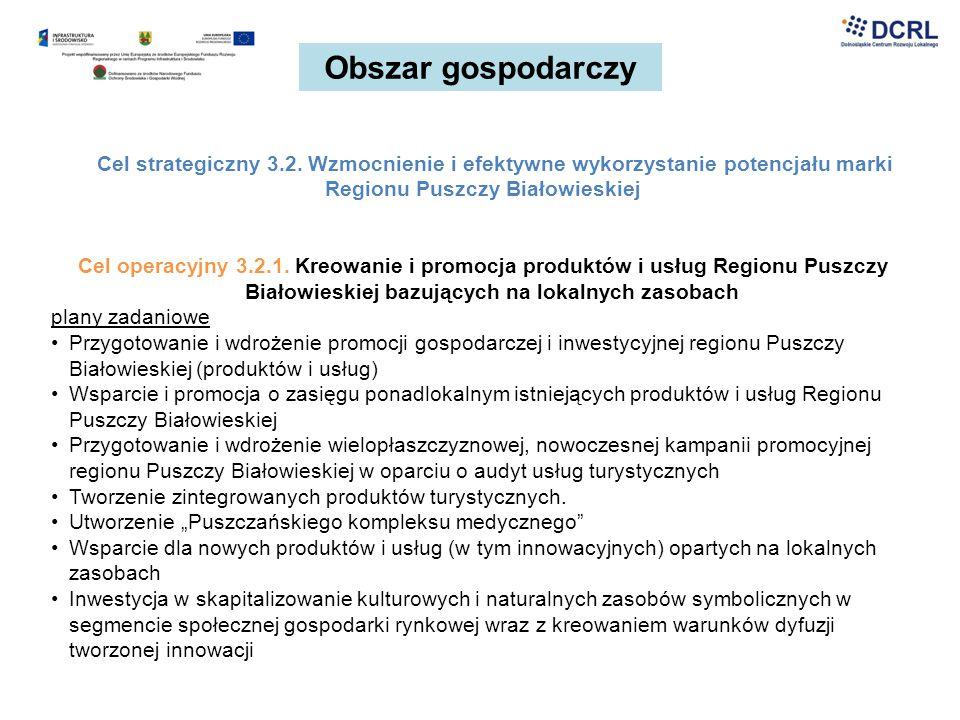 Obszar gospodarczy Cel strategiczny 3.2. Wzmocnienie i efektywne wykorzystanie potencjału marki Regionu Puszczy Białowieskiej.