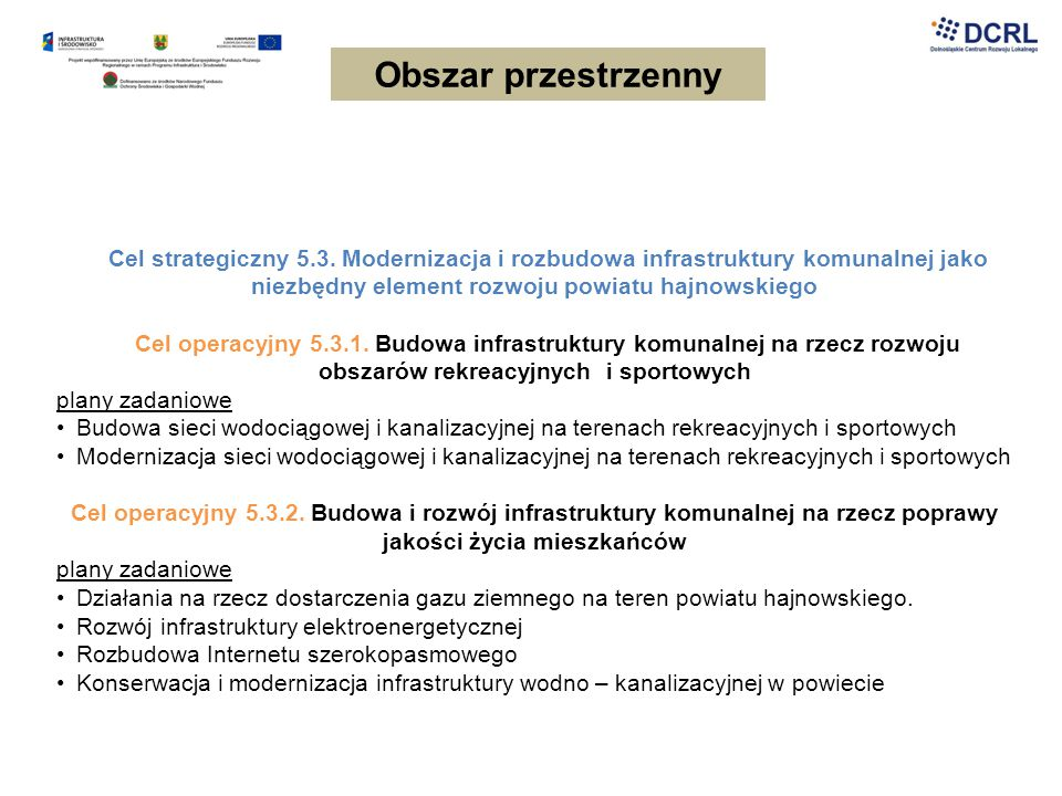 Obszar przestrzenny Cel strategiczny 5.3. Modernizacja i rozbudowa infrastruktury komunalnej jako niezbędny element rozwoju powiatu hajnowskiego.