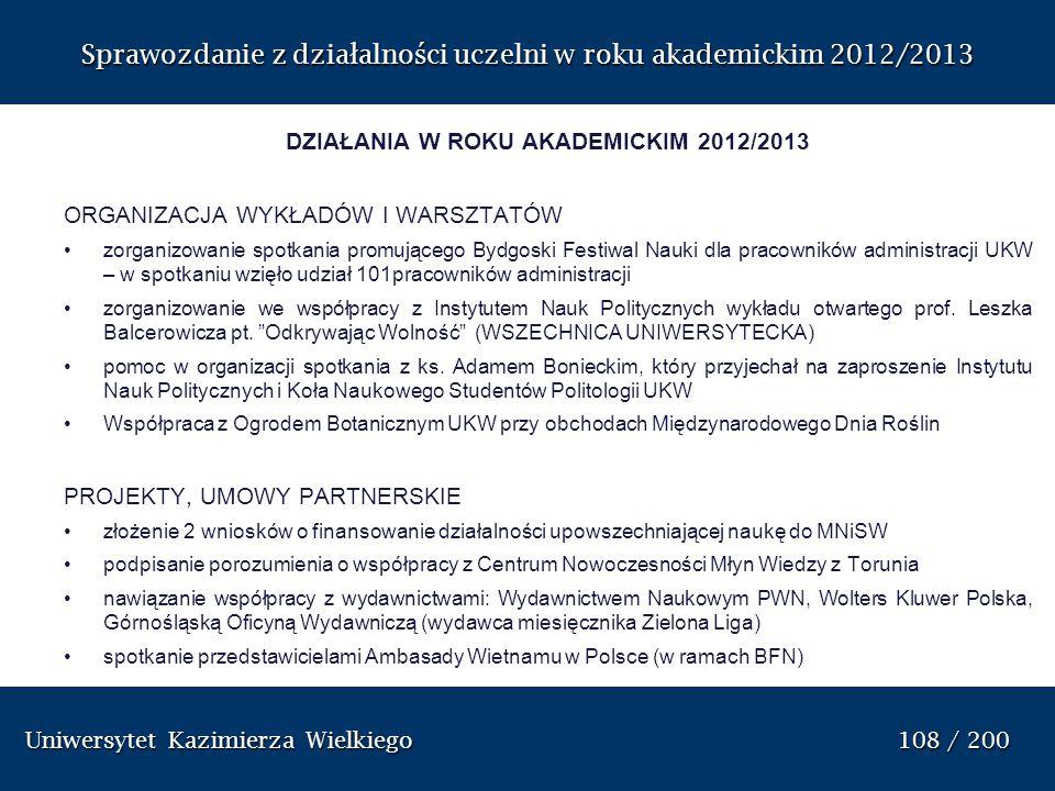 DZIAŁANIA W ROKU AKADEMICKIM 2012/2013