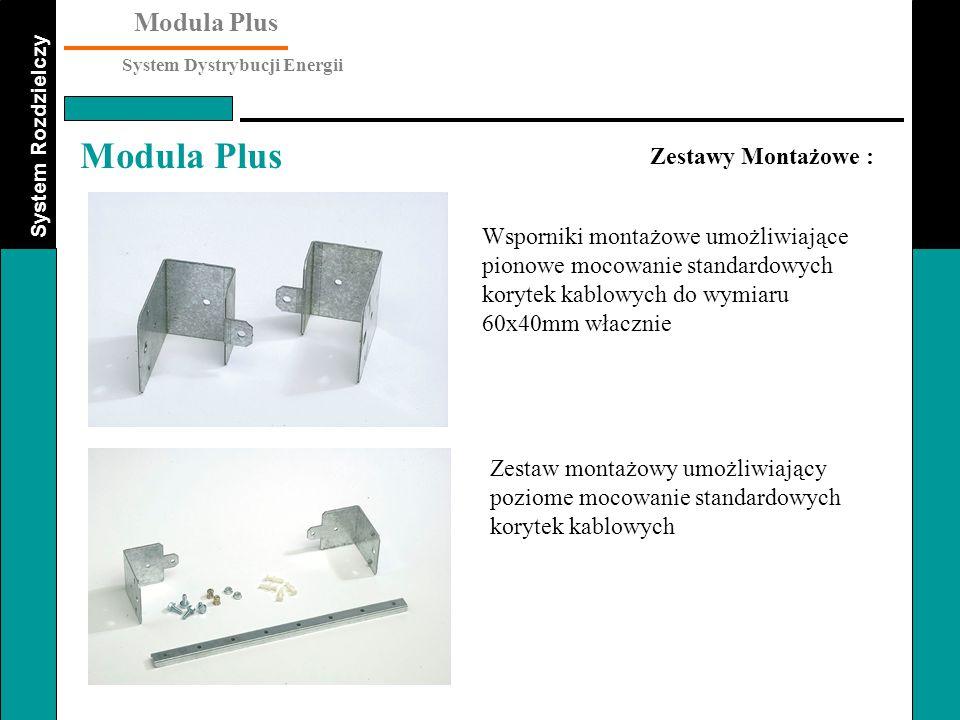 Zestawy Montażowe : Wsporniki montażowe umożliwiające pionowe mocowanie standardowych korytek kablowych do wymiaru 60x40mm włacznie.