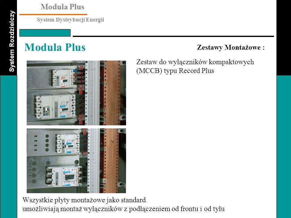 Zestawy Montażowe : Zestaw do wyłączników kompaktowych (MCCB) typu Record Plus. Wszystkie płyty montażowe jako standard.