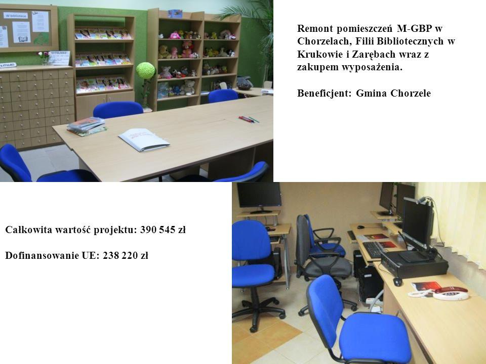 Remont pomieszczeń M-GBP w Chorzelach, Filii Bibliotecznych w Krukowie i Zarębach wraz z zakupem wyposażenia.