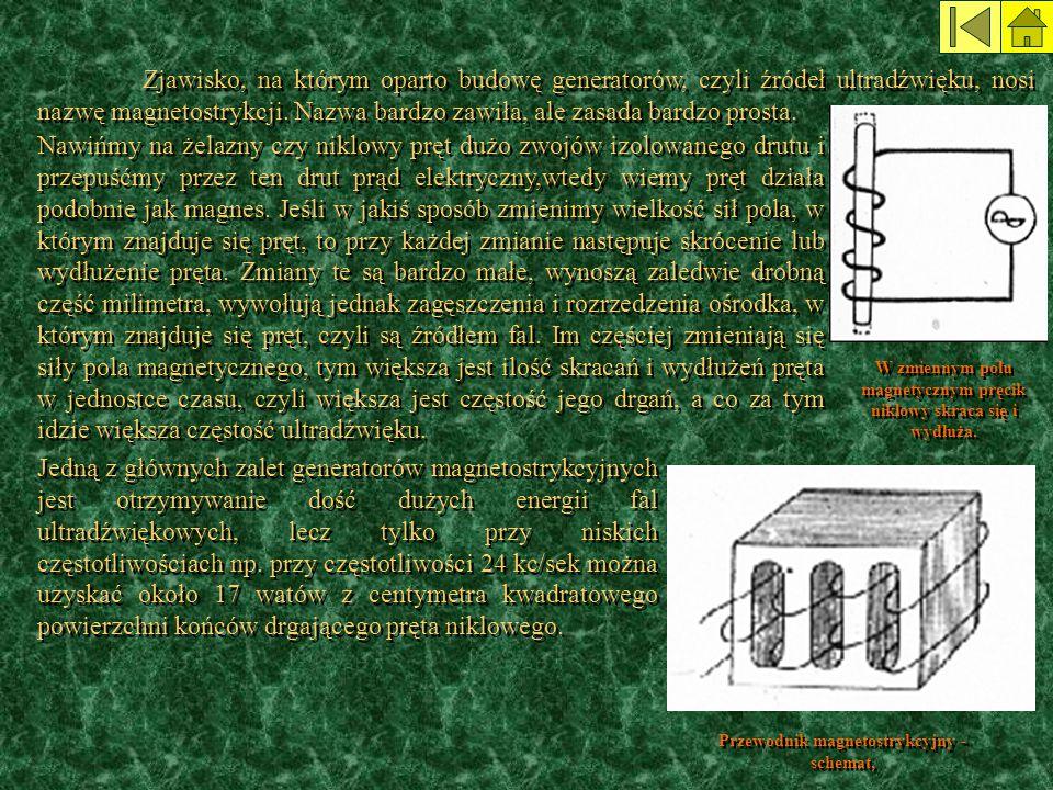 Zjawisko, na którym oparto budowę generatorów, czyli źródeł ultradźwięku, nosi nazwę magnetostrykcji. Nazwa bardzo zawiła, ale zasada bardzo prosta.