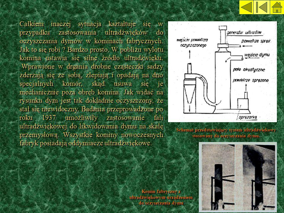 Komin fabryczny z ultradźwiękowym urządzeniem do oczyszczania dymu