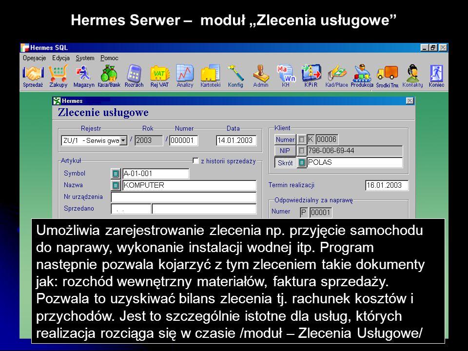"""Hermes Serwer – moduł """"Zlecenia usługowe"""