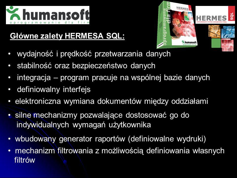 Główne zalety HERMESA SQL: