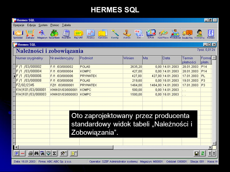 """HERMES SQL Oto zaprojektowany przez producenta standardowy widok tabeli """"Należności i Zobowiązania ."""