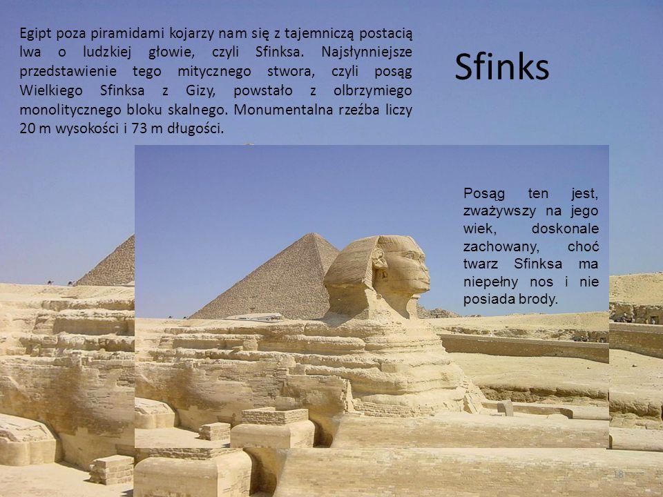 Egipt poza piramidami kojarzy nam się z tajemniczą postacią lwa o ludzkiej głowie, czyli Sfinksa. Najsłynniejsze przedstawienie tego mitycznego stwora, czyli posąg Wielkiego Sfinksa z Gizy, powstało z olbrzymiego monolitycznego bloku skalnego. Monumentalna rzeźba liczy 20 m wysokości i 73 m długości.
