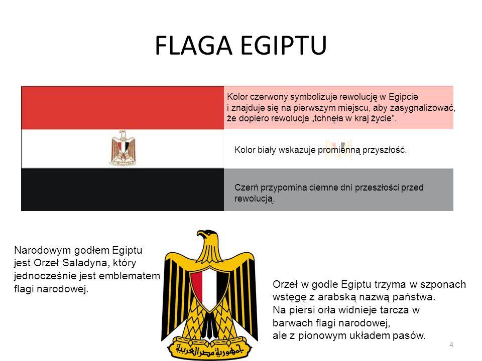 FLAGA EGIPTU Narodowym godłem Egiptu jest Orzeł Saladyna, który