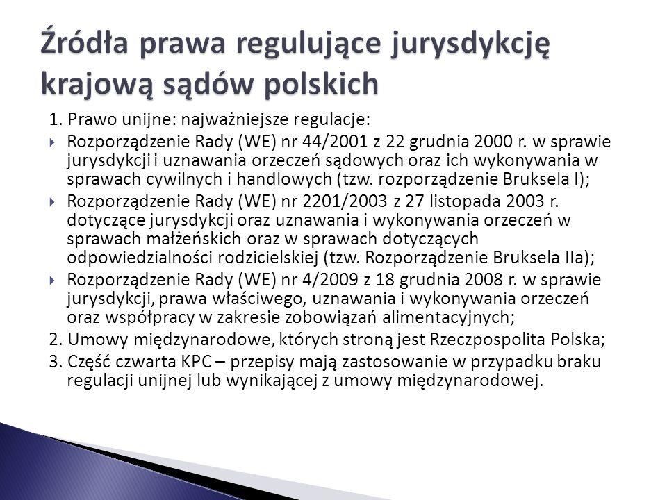 Źródła prawa regulujące jurysdykcję krajową sądów polskich
