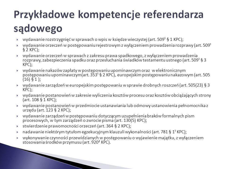 Przykładowe kompetencje referendarza sądowego