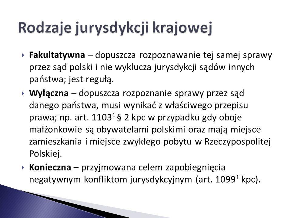 Rodzaje jurysdykcji krajowej