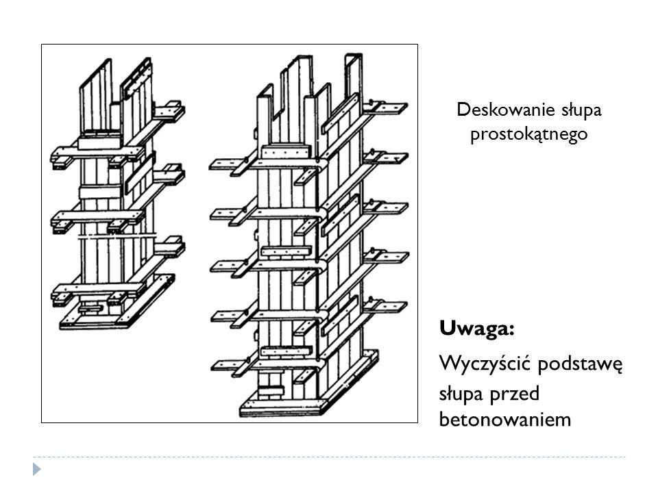 Uwaga: Wyczyścić podstawę słupa przed betonowaniem Deskowanie słupa