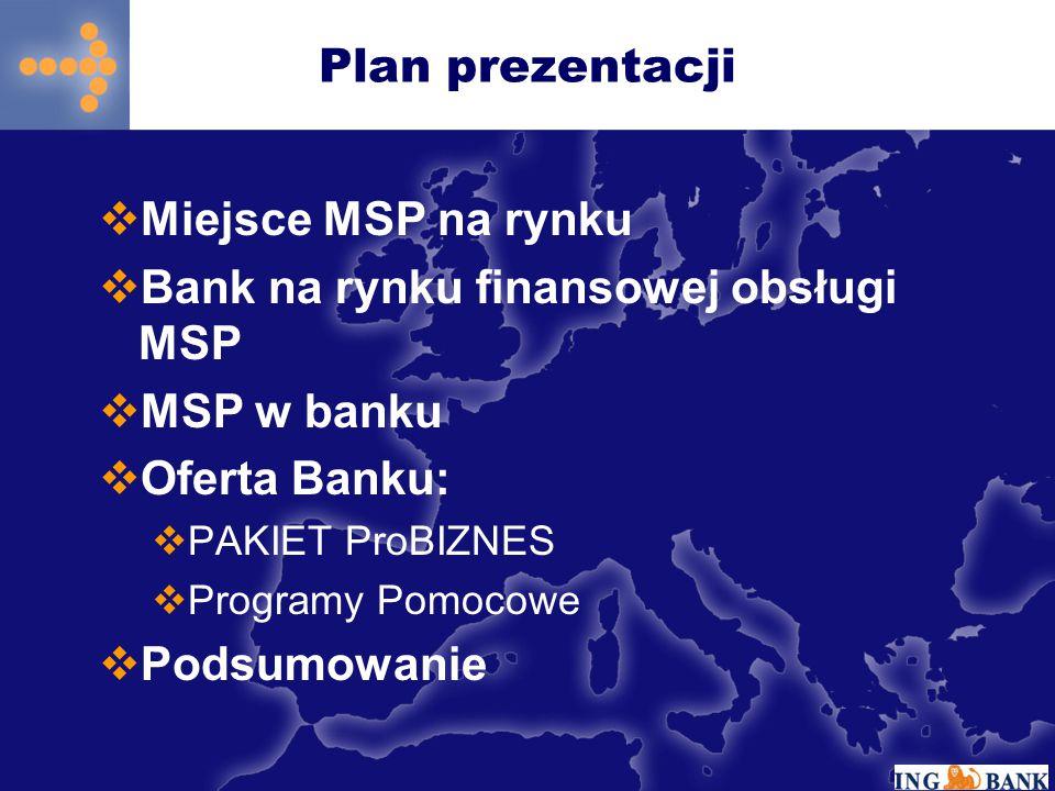 Bank na rynku finansowej obsługi MSP MSP w banku Oferta Banku:
