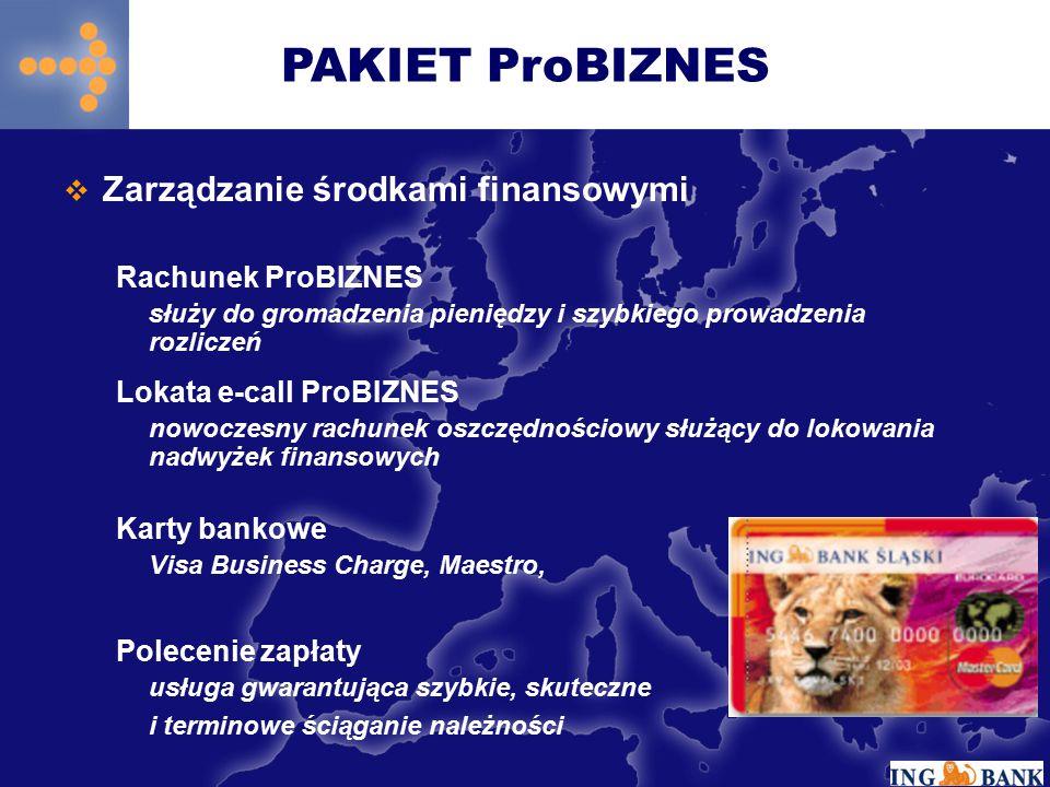 PAKIET ProBIZNES Zarządzanie środkami finansowymi Rachunek ProBIZNES