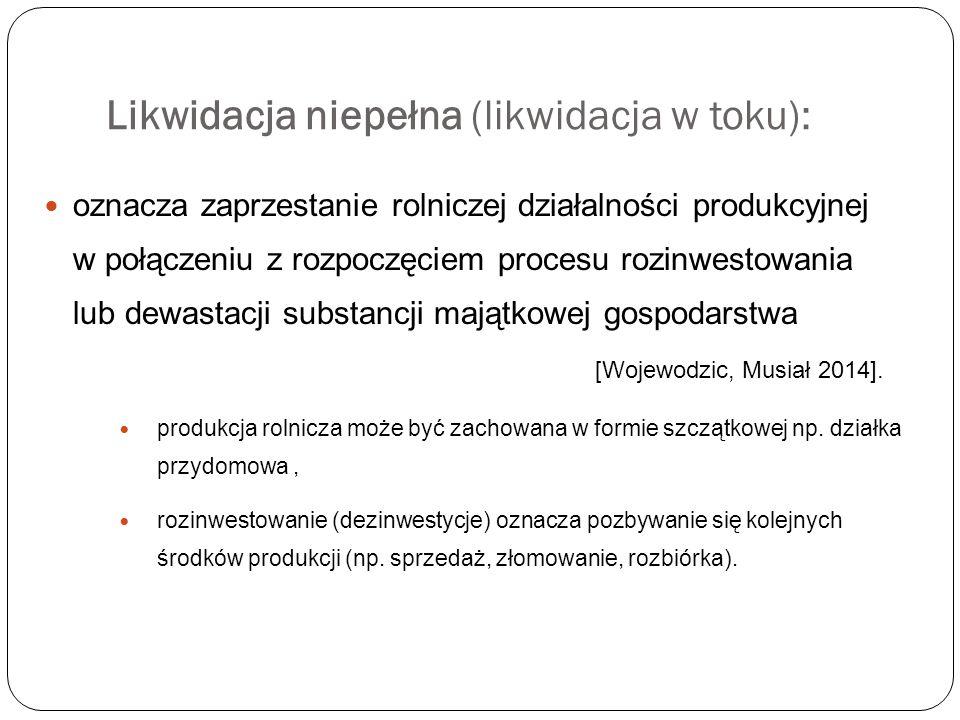 Likwidacja niepełna (likwidacja w toku):
