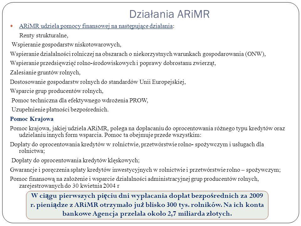 Działania ARiMR ARiMR udziela pomocy finansowej na następujące działania: Renty strukturalne, Wspieranie gospodarstw niskotowarowych,
