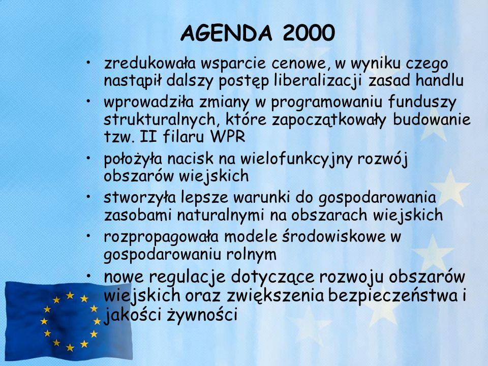AGENDA 2000 zredukowała wsparcie cenowe, w wyniku czego nastąpił dalszy postęp liberalizacji zasad handlu.