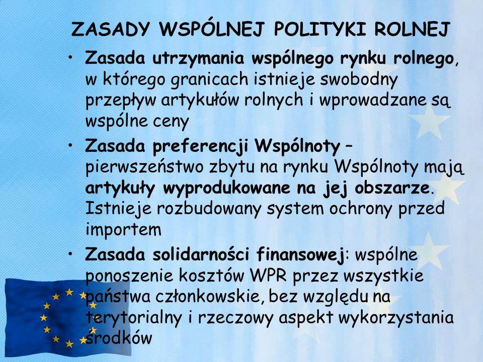 ZASADY WSPÓLNEJ POLITYKI ROLNEJ