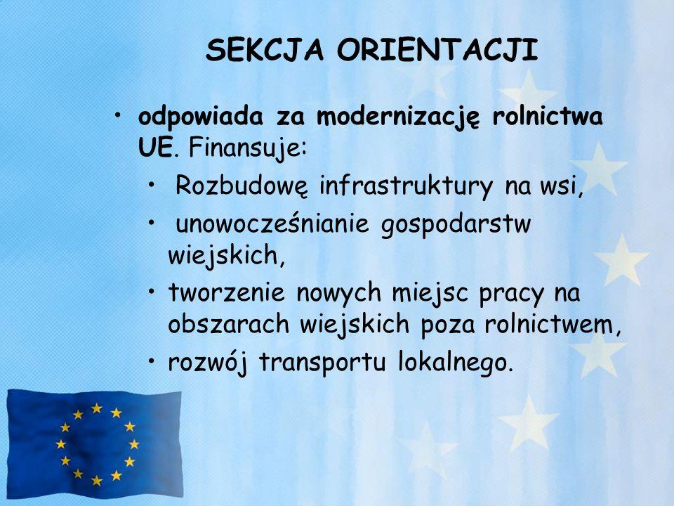 SEKCJA ORIENTACJI odpowiada za modernizację rolnictwa UE. Finansuje: