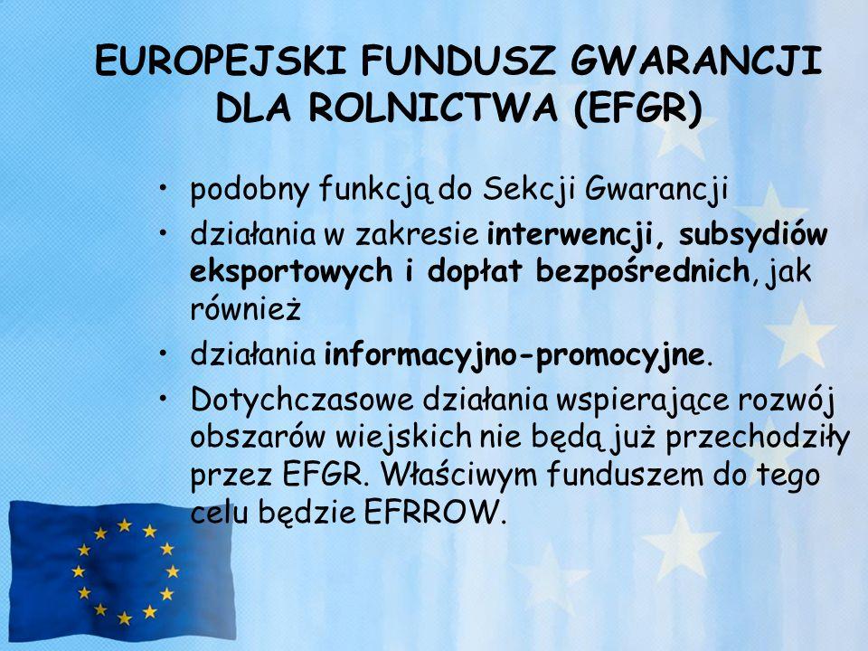 EUROPEJSKI FUNDUSZ GWARANCJI DLA ROLNICTWA (EFGR)